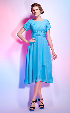 A-line Jewel Tea-length Chiffon Cocktail Dress