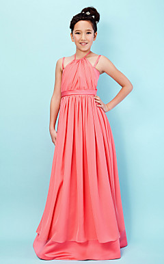 A-line Halter Spaghetti Straps Floor-length Chiffon Junior Bridesmaid Dress