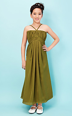 A-line Halter Bateau Ankle-length Chiffon Junior Bridesmaid Dress