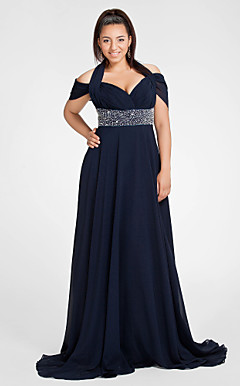 Sheath/Column Halter Short Sleeve Sweep/Brush Train Chiffon Evening Dress