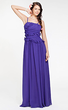 Sheath/ Column Spaghetti Straps Floor-length Chiffon Bridesmaid Dress
