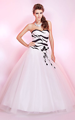 Ball Gown Sweetheart pavimento-lunghezza tulle abito da ballo con paillettes