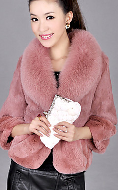 3/4 Sleeve Party/Evening Rabbit Fur Fox Fur Collar Jacket (More Colors)