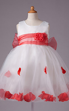 robe de bal bijou genou longueur satin et tulle robe de fille de fleur