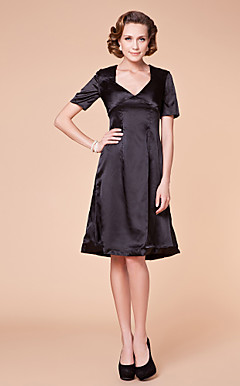 A-line V-neck Knee-length Charmeuse Mother of the Bride Dress
