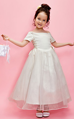 A-line Off-the-shoulder Ankle-length Organza Over Satin Flower Girl Dress