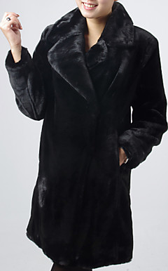 Long Sleeve Turndown Collar Evening/ Career Imitation Mink Fur Coat
