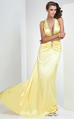 A-line V-neck Sweep/Brush Train Stretch Satin Evening Dress
