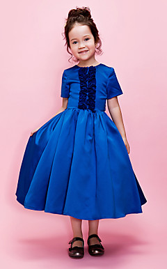 palla abito gioiello da tè raso Flower Girl Dress