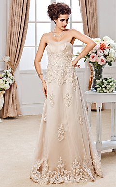 Sheath/ Column Strapless Floor-length Tulle Wedding Dress