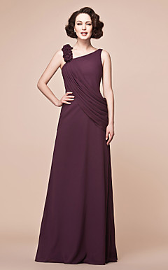 Sheath/Column Straps Floor-length Chiffon Mother of the Bride Dress