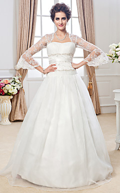 Ball Gown Sweetheart Floor-length Tulle Lace Wedding Dress
