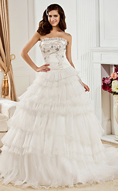 Ball Gown Strapless Chapel Train Organza And Satin Wedding Dress