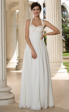 Sheath/Column Halter Floor-length Chiffon Wedding Dress