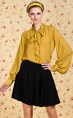 ts vintage ruitpatroon pofmouw boog chiffon overhemd