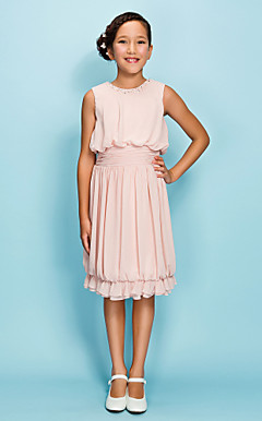 Sheath/Column Jewel Knee-length Chiffon Junior Bridesmaid Dress
