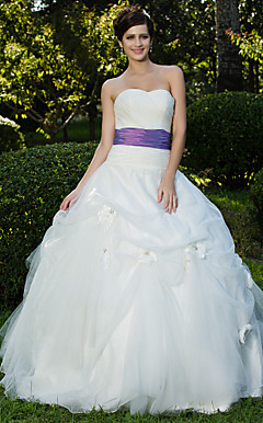 Ball gown trägerlose Fußbodenlänge-length organza wedding dress