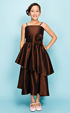A-line Spaghetti Straps Tea-length Taffeta Junior Bridesmaid Dress