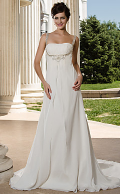 A-line Straps Court Train Chiffon Wedding Dress