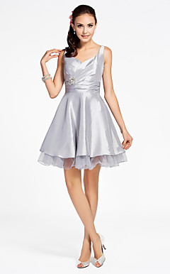 A-line Straps Knee-length Organza Over Taffeta Bridesmaid Dress