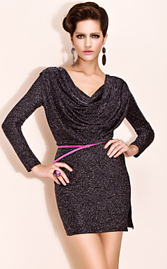 TS Metallic Woven Cowls Long Sleeve Dress