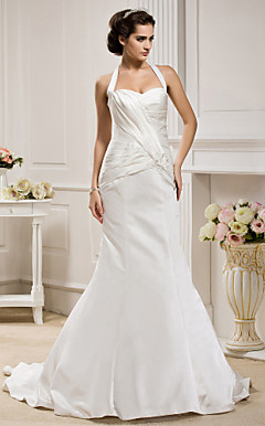 Trumpet/Mermaid Halter  Court Train Satin  Wedding Dress