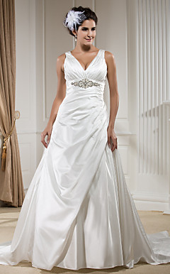 A-line V-neck Chapel Train Satin Wedding Dress