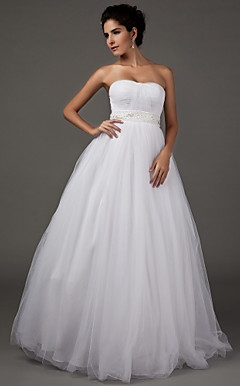 A-line Sweetheart Strapless Floor-length Tulle Wedding Dress