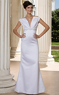 Trumpet/Mermaid V-neck Floor-length Sleeveless Satin Wedding Dress