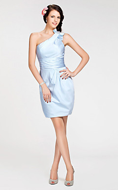 Sheath/ Column One Shoulder Short/ Mini Stretch Satin Bridesmaid Dress