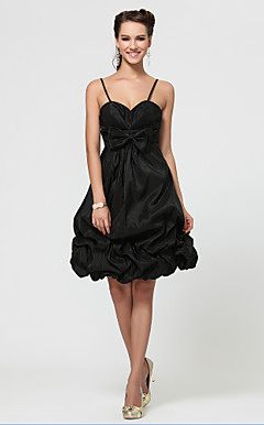 A-line Sweetheart Knee-length Taffeta  Bridesmaid Dress With Pick Up Skirt