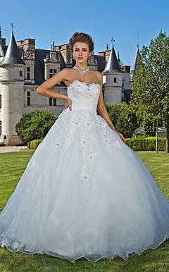 Ball Gown Sweetheart Chapel Train Organza Wedding Dress