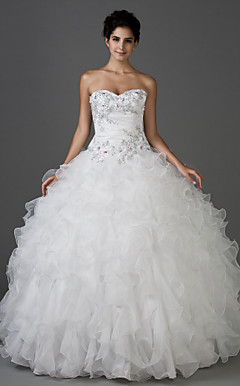 Ball Gown Sweetheart Strapless Floor-length Taffeta And Organza Wedding Dress