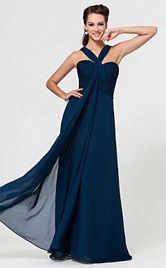 Sheath/Column Sweetheart Floor-length Chiffon Bridesmaid Dress With Ruching