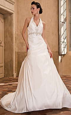 A-line Halter Chapel Train Taffeta Wedding Dress