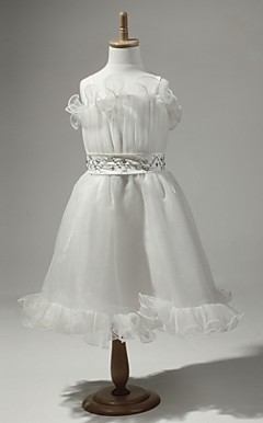 Satin And Tulle Sleeveless Flower Girl Dress With Sequins