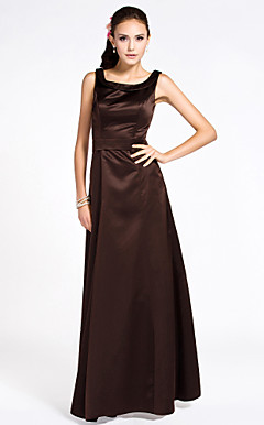 A-line Scoop Sleeveless Ankle-length Sash/Ribbon Satin Bridesmaid Dress