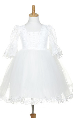 Sweet Half Belt Sleeve Tulle & Lace Wedding/Evening Flower Girl Dress