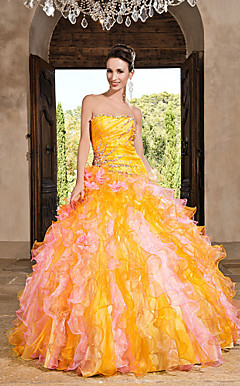 Ball Gown Strapless Floor-length Taffeta Dress With Ruffles
