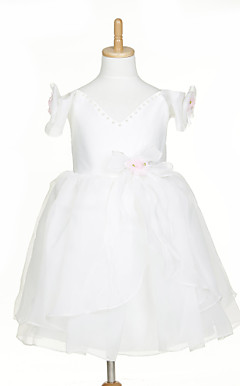 Sweet Sleeveless Organza & Satin Wedding/Evening Flower Girl Dress With Flowers