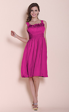 A-line Princess Straps Square Knee-length Chiffon Stretch Satin Bridesmaid/ Wedding Party Dress