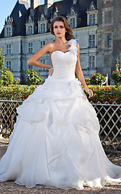 Ball Gown One Shoulder Floor-length Organza Wedding Dress