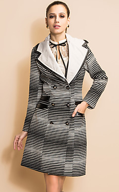 TS Gradient Stripes PU Double Layered Collar Tweed Coat