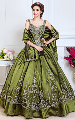 Ball Gown Sweetheart Floor-length Taffeta Evening Dress With Beading And Embroidery
