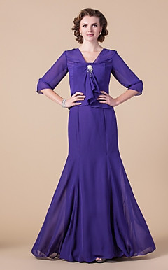 Trumpet/ Mermaid Strapless Floor-length Chiffon Mother of the Bride Dress With A Wrap