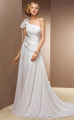 A-line Princess One Shoulder Court Train Chiffon And Stretch Satin Wedding Dress