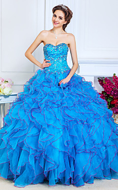 Ball Gown Sweetheart Floor-length Organza Evening Dress With Beading|Cascading Ruffles