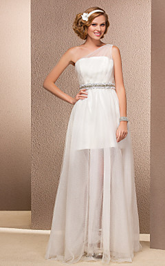 Sheath/Column One Shoulder Floor-length Tulle Wedding Dress