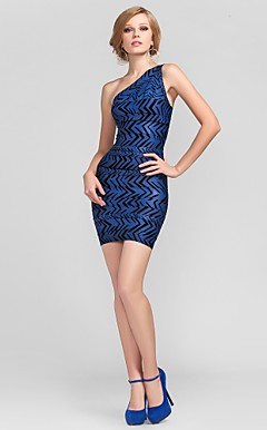 Sheath/Column One Shoulder Short/Mini Rayon Bandage Dress