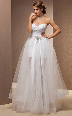 Two-In-One Sheath/Column Sweetheart Floor-length Lace And Tulle Wedding Dress